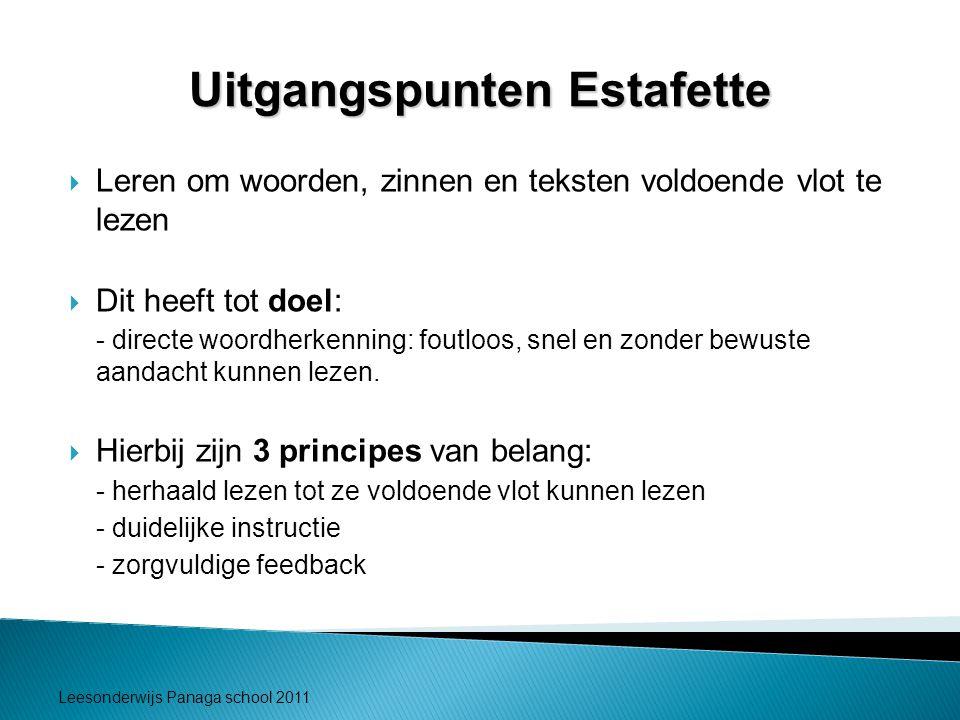 Leesonderwijs Panaga school 2011 Uitgangspunten Estafette  Leren om woorden, zinnen en teksten voldoende vlot te lezen  Dit heeft tot doel: - direct
