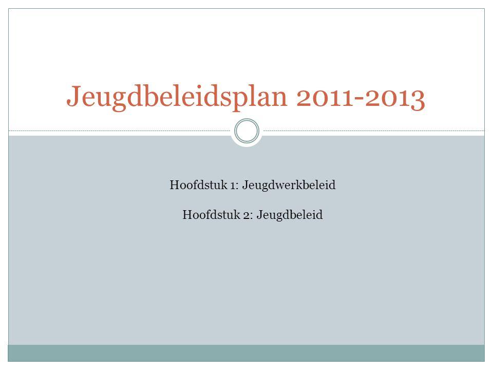 Jeugdbeleidsplan 2011-2013 Hoofdstuk 1: Jeugdwerkbeleid Hoofdstuk 2: Jeugdbeleid