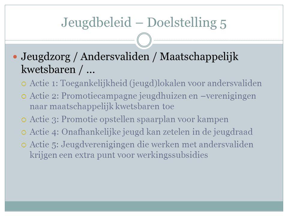Jeugdbeleid – Doelstelling 5 Jeugdzorg / Andersvaliden / Maatschappelijk kwetsbaren /...