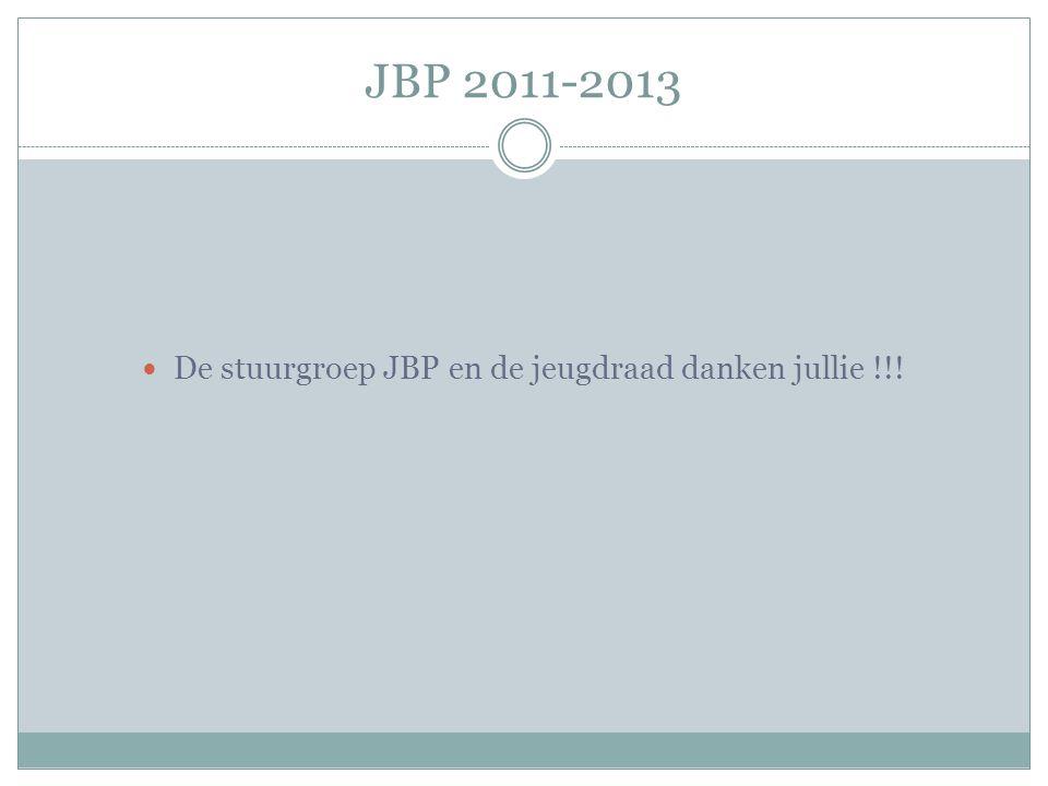 JBP 2011-2013 De stuurgroep JBP en de jeugdraad danken jullie !!!