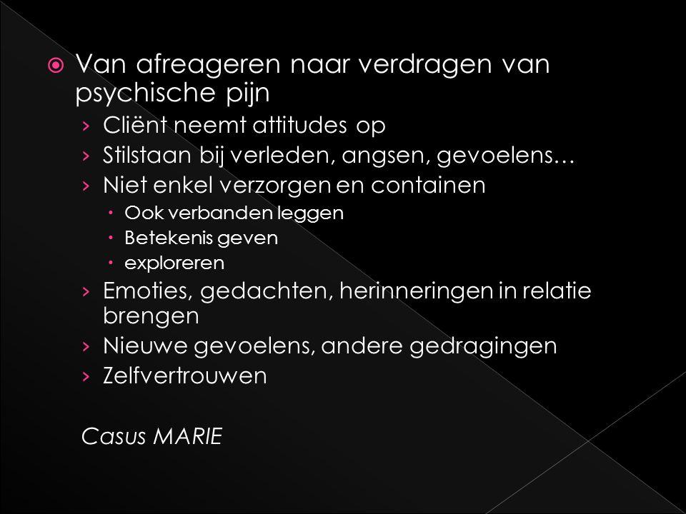  Van afreageren naar verdragen van psychische pijn › Cliënt neemt attitudes op › Stilstaan bij verleden, angsen, gevoelens… › Niet enkel verzorgen en