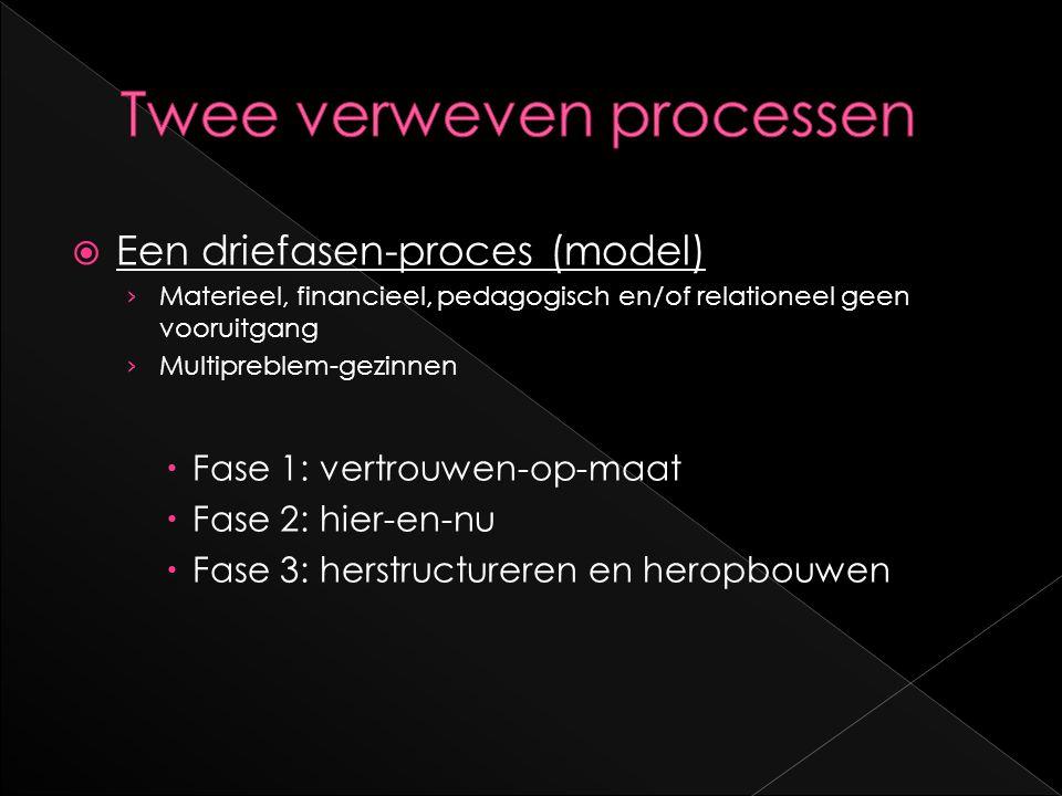  Een driefasen-proces (model) › Materieel, financieel, pedagogisch en/of relationeel geen vooruitgang › Multipreblem-gezinnen  Fase 1: vertrouwen-op