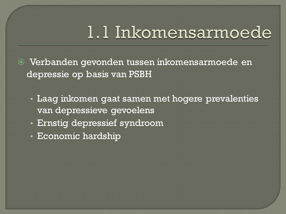  Verbanden gevonden tussen inkomensarmoede en depressie op basis van PSBH Laag inkomen gaat samen met hogere prevalenties van depressieve gevoelens Ernstig depressief syndroom Economic hardship
