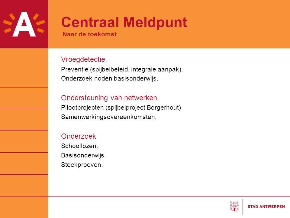 Centraal Meldpunt Naar de toekomst Vroegdetectie. Preventie (spijbelbeleid, integrale aanpak). Onderzoek noden basisonderwijs. Ondersteuning van netwe
