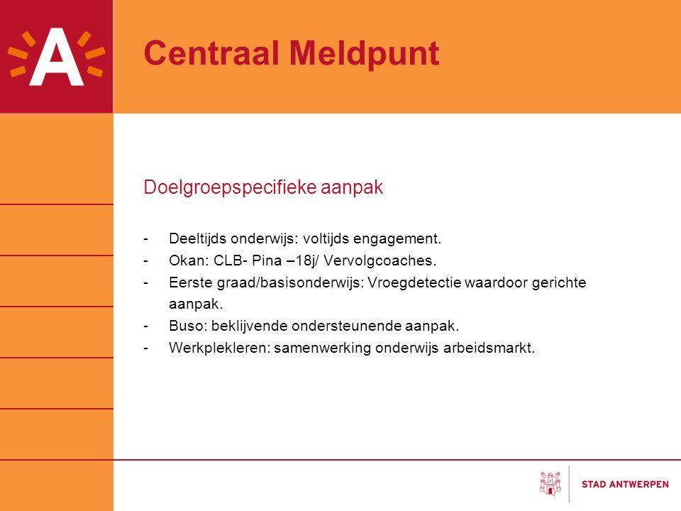 Centraal Meldpunt Doelgroepspecifieke aanpak -Deeltijds onderwijs: voltijds engagement. -Okan: CLB- Pina –18j/ Vervolgcoaches. -Eerste graad/basisonde