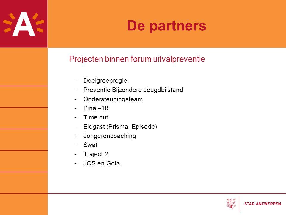 De partners Projecten binnen forum uitvalpreventie -Doelgroepregie -Preventie Bijzondere Jeugdbijstand -Ondersteuningsteam -Pina –18 -Time out. -Elega