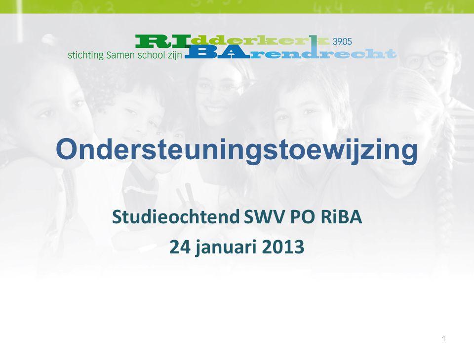 Ondersteuningstoewijzing Studieochtend SWV PO RiBA 24 januari 2013 1