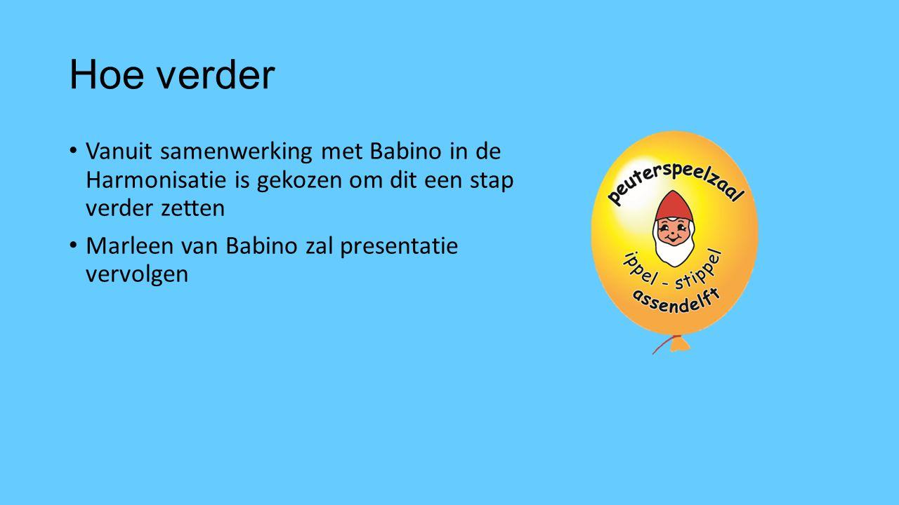 Hoe verder Vanuit samenwerking met Babino in de Harmonisatie is gekozen om dit een stap verder zetten Marleen van Babino zal presentatie vervolgen