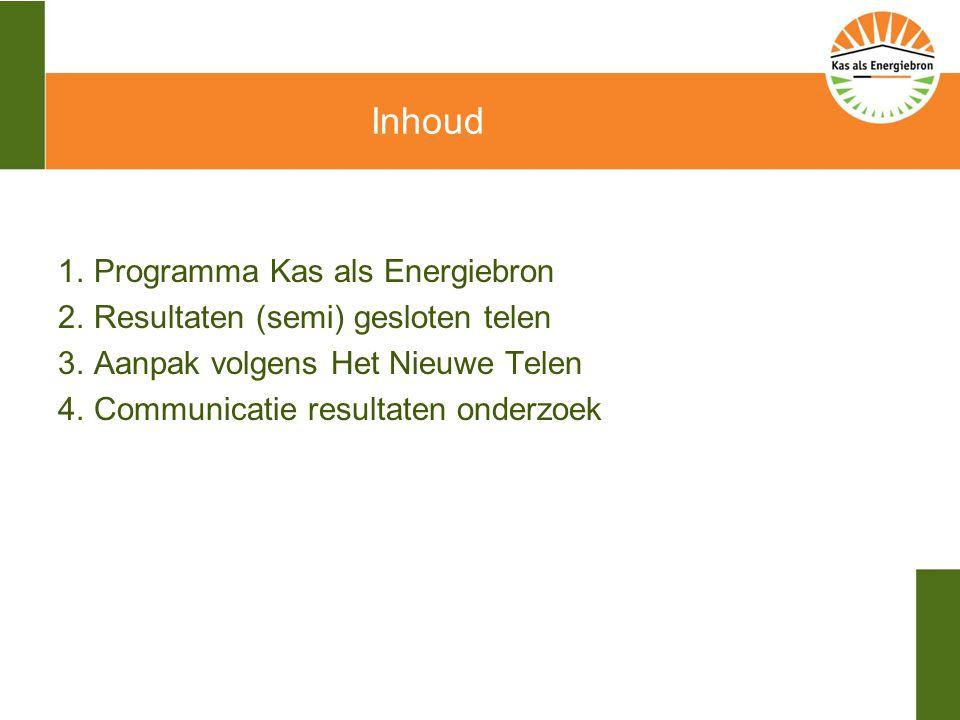 Inhoud 1.Programma Kas als Energiebron 2.Resultaten (semi) gesloten telen 3.Aanpak volgens Het Nieuwe Telen 4.Communicatie resultaten onderzoek