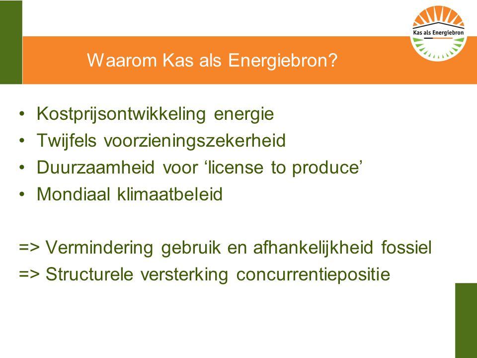 Ambitie glastuinbouw 2020 Convenant Schone en Zuinige Agrosectoren 45 % minder CO2-emissie t.o.v.