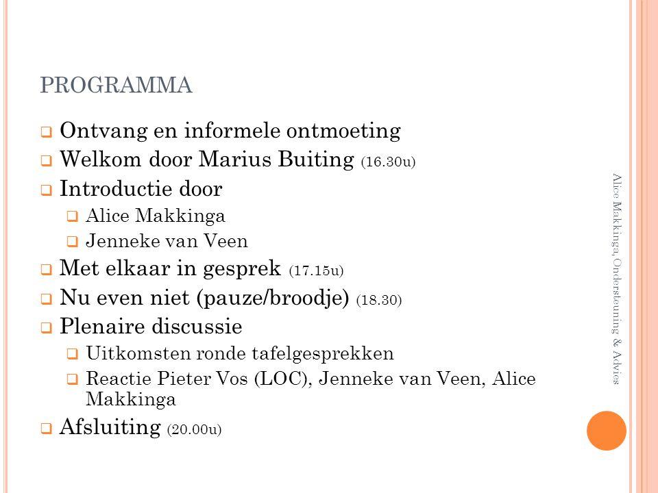 PROGRAMMA  Ontvang en informele ontmoeting  Welkom door Marius Buiting (16.30u)  Introductie door  Alice Makkinga  Jenneke van Veen  Met elkaar
