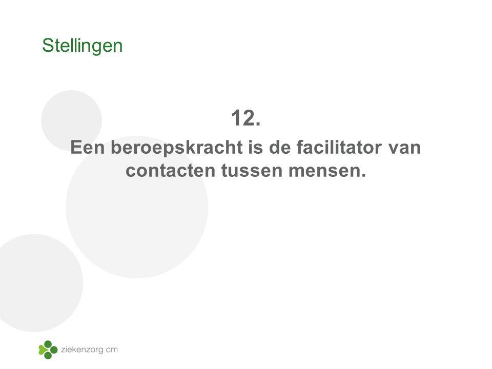 Stellingen 12. Een beroepskracht is de facilitator van contacten tussen mensen.