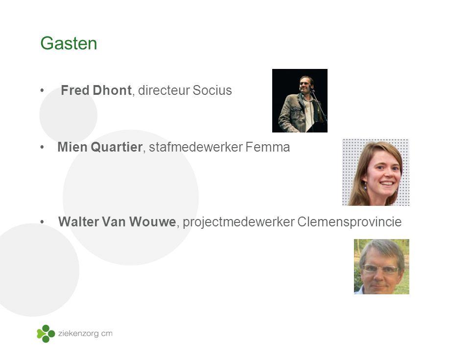 Gasten Fred Dhont, directeur Socius Mien Quartier, stafmedewerker Femma Walter Van Wouwe, projectmedewerker Clemensprovincie