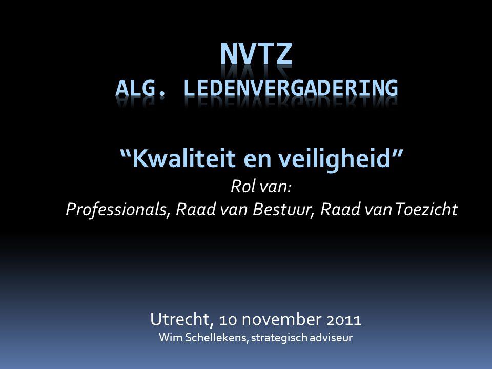 """Utrecht, 10 november 2011 Wim Schellekens, strategisch adviseur """"Kwaliteit en veiligheid"""" Rol van: Professionals, Raad van Bestuur, Raad van Toezicht"""