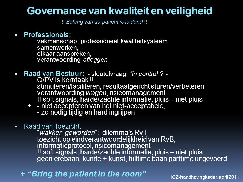 Governance van kwaliteit en veiligheid !! Belang van de patiënt is leidend !!  Professionals: vakmanschap, professioneel kwaliteitsysteem samenwerken