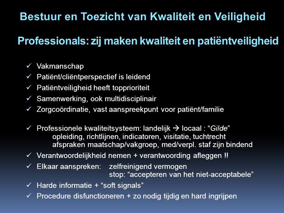 Professionals: zij maken kwaliteit en patiëntveiligheid Vakmanschap Patiënt/cliëntperspectief is leidend Patiëntveiligheid heeft topprioriteit Samenwe
