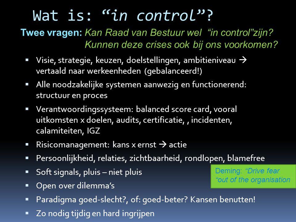 """Wat is: """"in control""""?  Visie, strategie, keuzen, doelstellingen, ambitieniveau  vertaald naar werkeenheden (gebalanceerd!)  Alle noodzakelijke syst"""