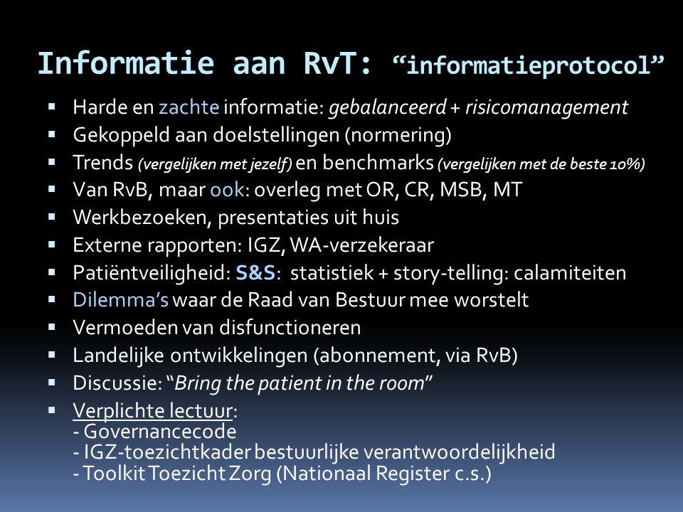 """Informatie aan RvT: """"informatieprotocol""""  Harde en zachte informatie: gebalanceerd + risicomanagement  Gekoppeld aan doelstellingen (normering)  Tr"""