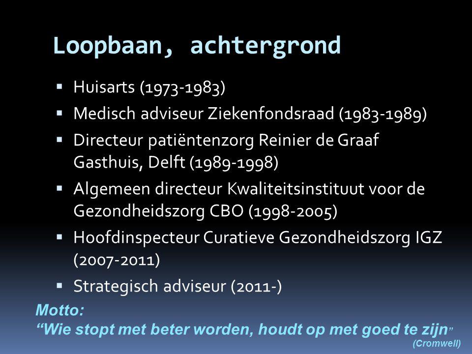 Loopbaan, achtergrond  Huisarts (1973-1983)  Medisch adviseur Ziekenfondsraad (1983-1989)  Directeur patiëntenzorg Reinier de Graaf Gasthuis, Delft