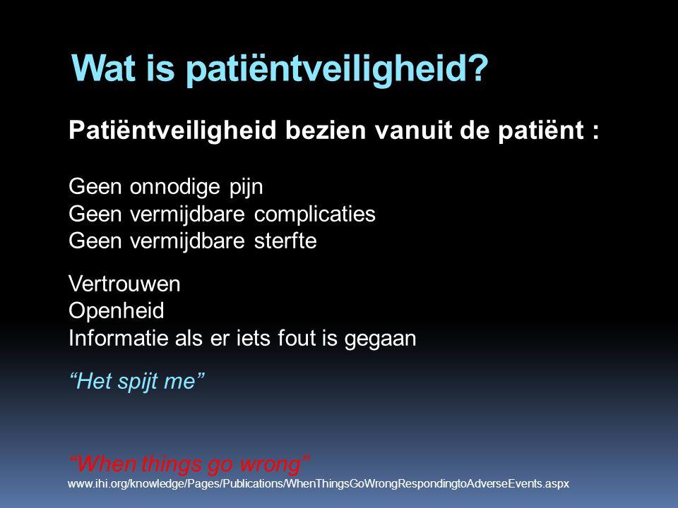 Wat is patiëntveiligheid? Patiëntveiligheid bezien vanuit de patiënt : Geen onnodige pijn Geen vermijdbare complicaties Geen vermijdbare sterfte Vertr