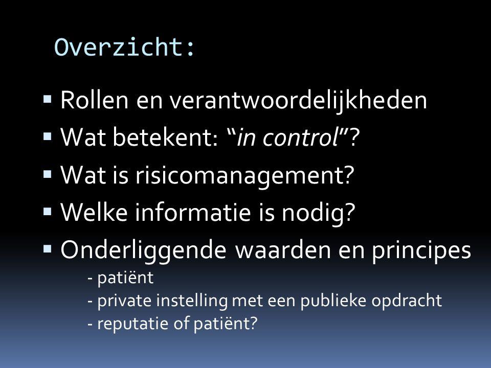 """Overzicht:  Rollen en verantwoordelijkheden  Wat betekent: """"in control""""?  Wat is risicomanagement?  Welke informatie is nodig?  Onderliggende waa"""