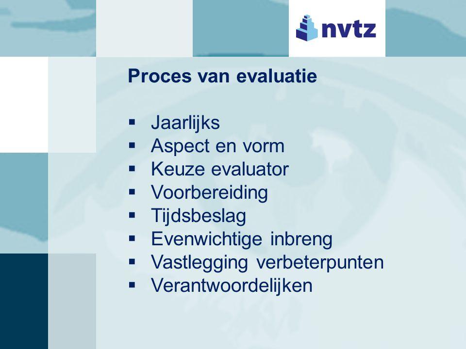 Proces van evaluatie  Jaarlijks  Aspect en vorm  Keuze evaluator  Voorbereiding  Tijdsbeslag  Evenwichtige inbreng  Vastlegging verbeterpunten  Verantwoordelijken