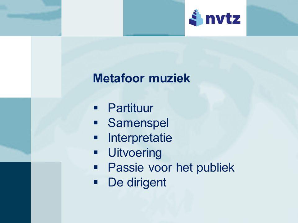 Metafoor muziek  Partituur  Samenspel  Interpretatie  Uitvoering  Passie voor het publiek  De dirigent