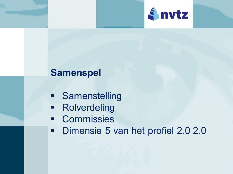 De interpretatie  Toezicht visie  Agendering  Vormen van toezicht  Interactie met de raad van bestuur  Dimensies 2 en 4 van het profiel 2.0 2.0