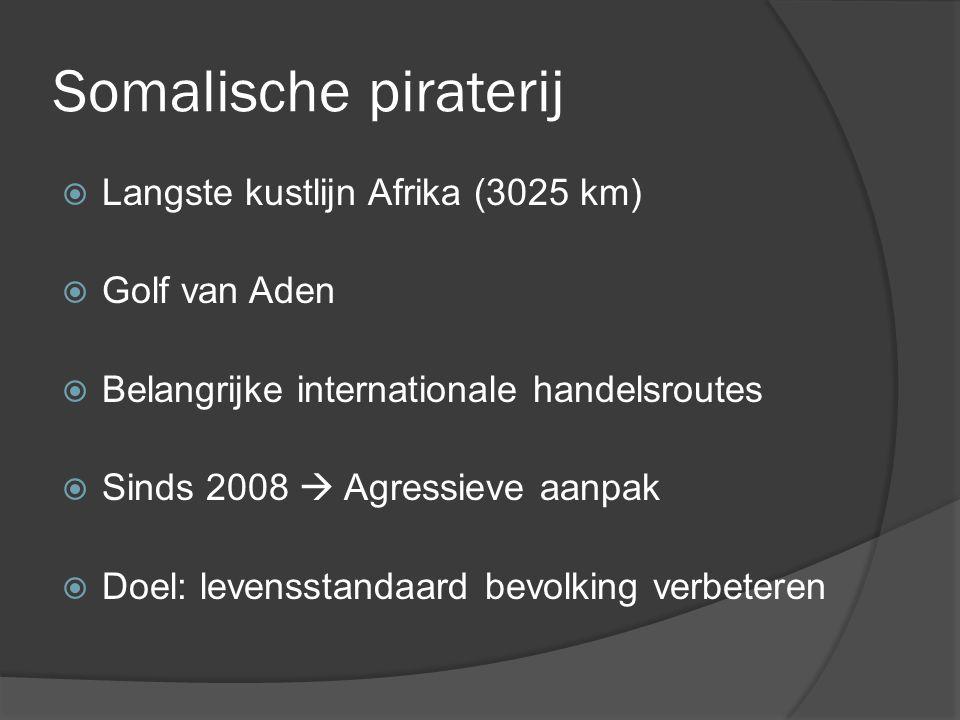 Somalische piraterij  Langste kustlijn Afrika (3025 km)  Golf van Aden  Belangrijke internationale handelsroutes  Sinds 2008  Agressieve aanpak  Doel: levensstandaard bevolking verbeteren