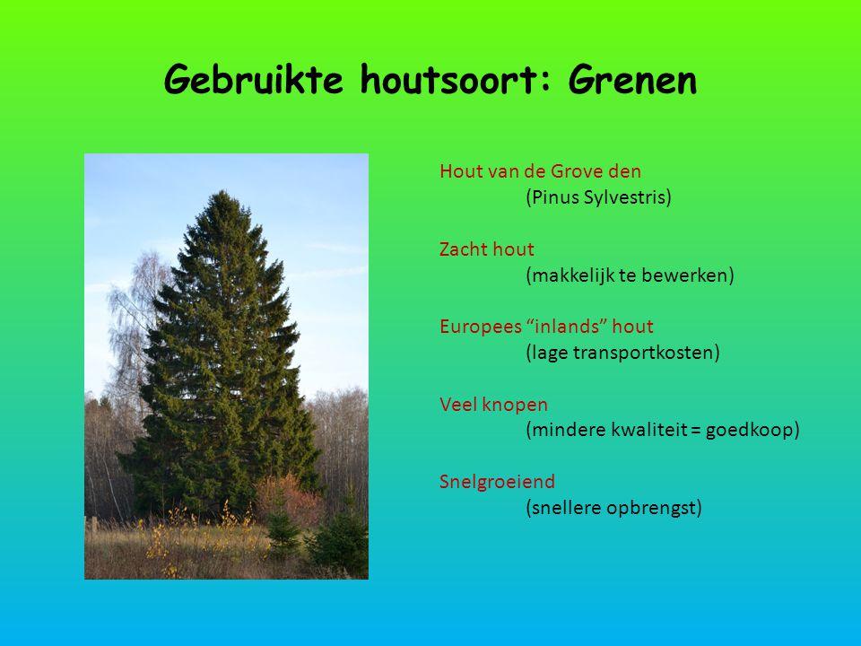 """Gebruikte houtsoort: Grenen Hout van de Grove den (Pinus Sylvestris) Zacht hout (makkelijk te bewerken) Europees """"inlands"""" hout (lage transportkosten)"""