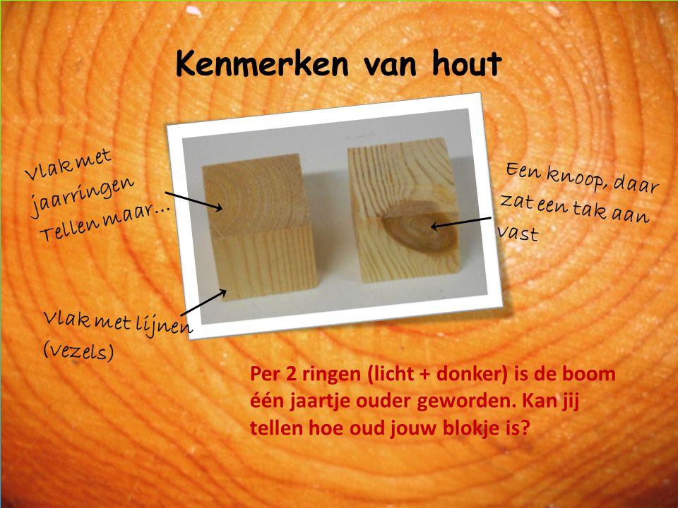 Kenmerken van hout Vlak met jaarringen Tellen maar… Een knoop, daar zat een tak aan vast Vlak met lijnen (vezels) Per 2 ringen (licht + donker) is de