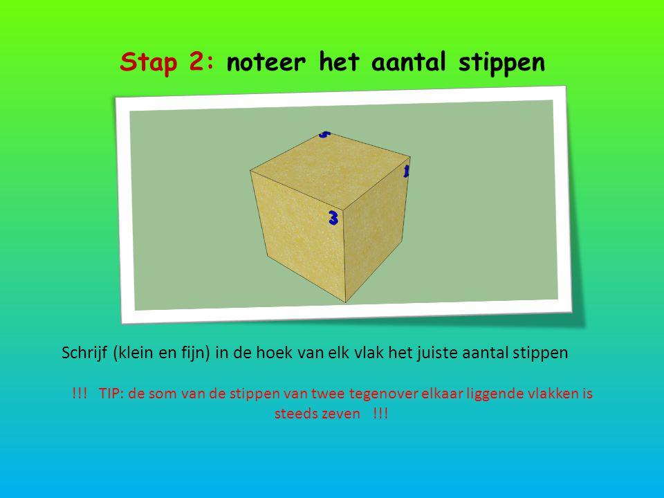 Stap 2: noteer het aantal stippen Schrijf (klein en fijn) in de hoek van elk vlak het juiste aantal stippen !!! TIP: de som van de stippen van twee te