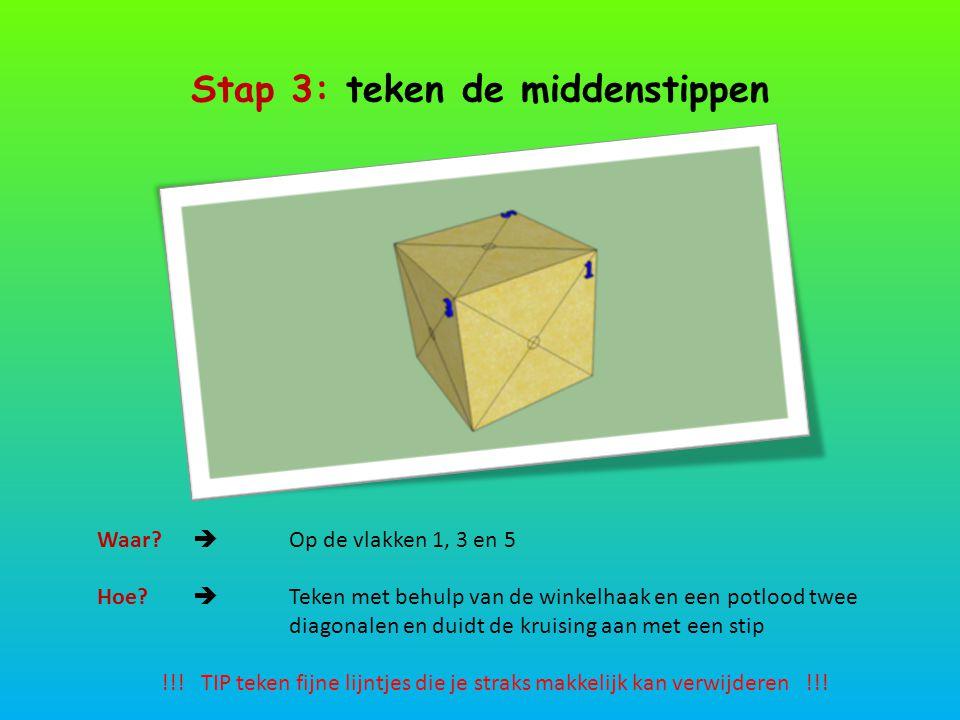 Stap 4: teken de andere stippen 1 : Streepje tekenen op 1 cm van zijkant2 : Blokje 90° naar rechts draaien 3 : Lijn trekken langs de meetlat4 : Op elk vlak 4 lijnen tekenen en juiste stippen aanduiden