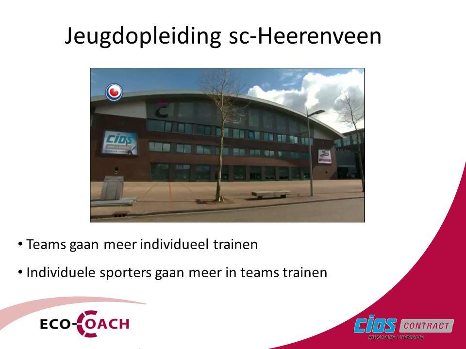 3 Teams gaan meer individueel trainen Individuele sporters gaan meer in teams trainen Jeugdopleiding sc-Heerenveen
