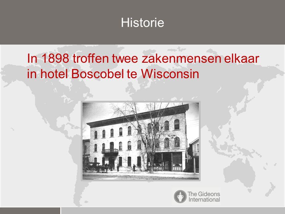 In 1898 troffen twee zakenmensen elkaar in hotel Boscobel te Wisconsin Historie