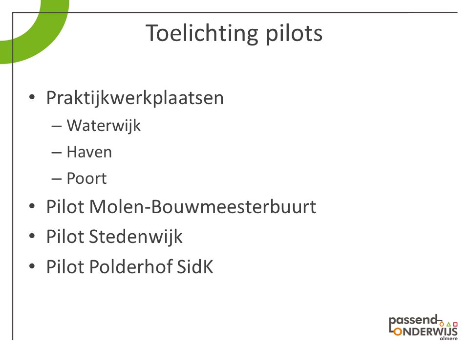 Toelichting pilots Praktijkwerkplaatsen – Waterwijk – Haven – Poort Pilot Molen-Bouwmeesterbuurt Pilot Stedenwijk Pilot Polderhof SidK