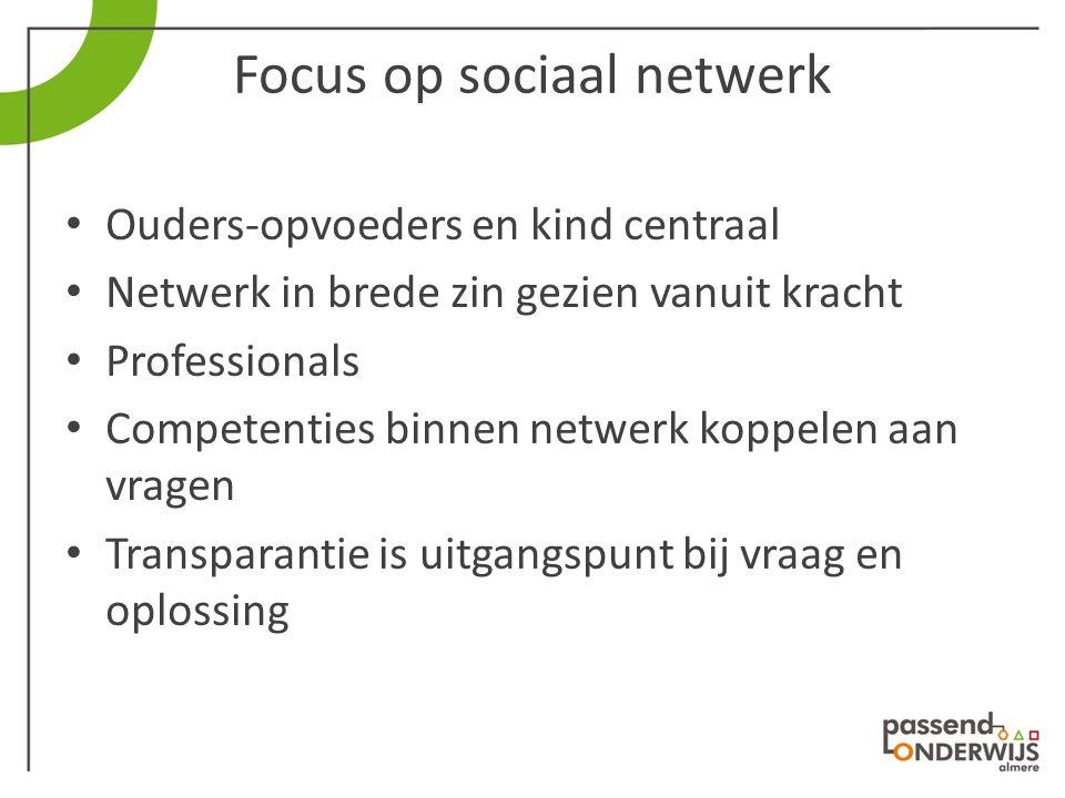 Focus op sociaal netwerk Ouders-opvoeders en kind centraal Netwerk in brede zin gezien vanuit kracht Professionals Competenties binnen netwerk koppele