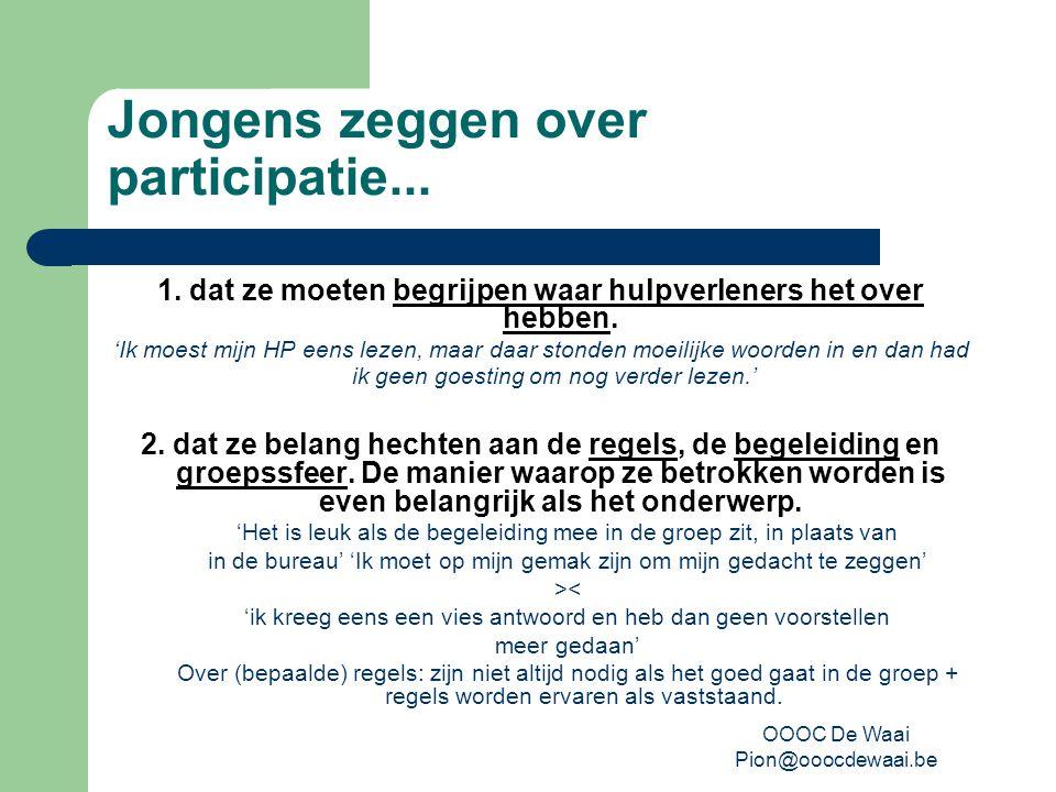OOOC De Waai Pion@ooocdewaai.be Jongens zeggen over participatie...