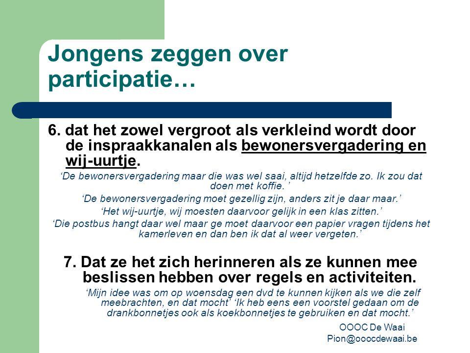 OOOC De Waai Pion@ooocdewaai.be Jongens zeggen over participatie… 6.