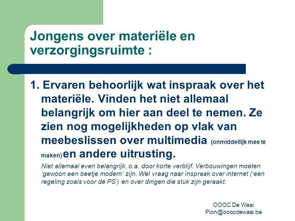 OOOC De Waai Pion@ooocdewaai.be Jongens over materiële en verzorgingsruimte : 1.