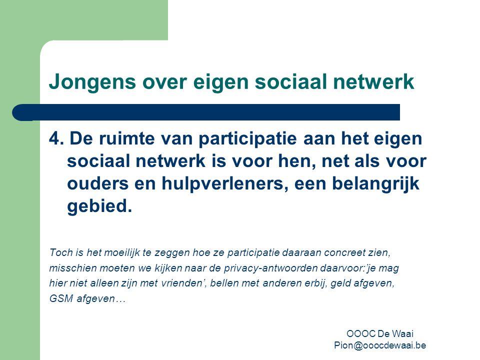 OOOC De Waai Pion@ooocdewaai.be Jongens over eigen sociaal netwerk 4.