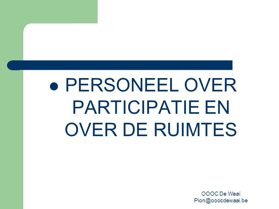 OOOC De Waai Pion@ooocdewaai.be PERSONEEL OVER PARTICIPATIE EN OVER DE RUIMTES