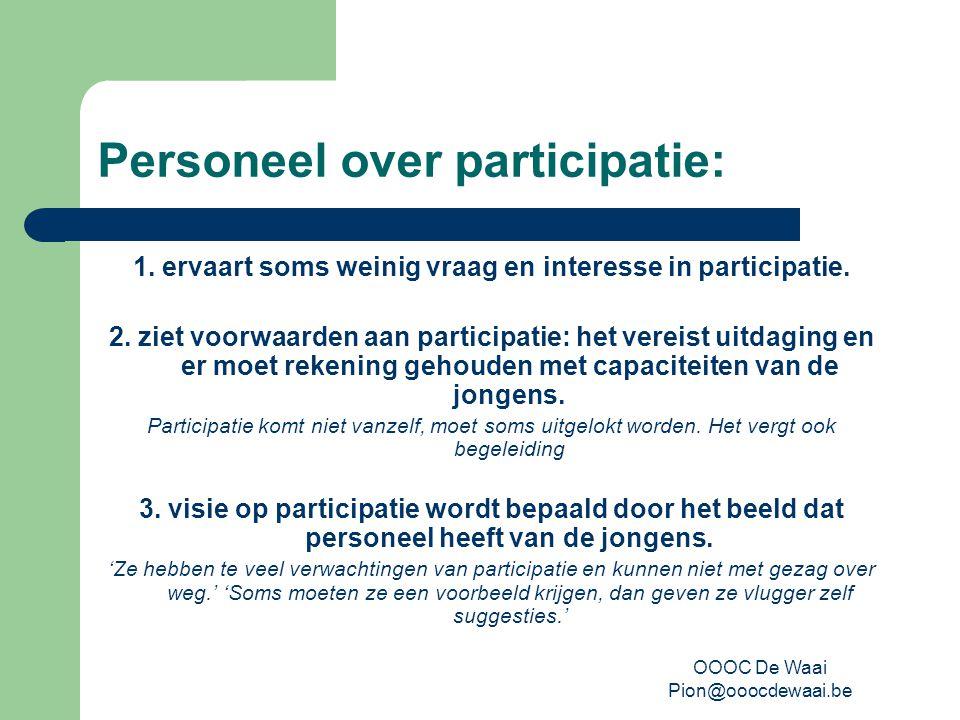 OOOC De Waai Pion@ooocdewaai.be Personeel over participatie: 1.