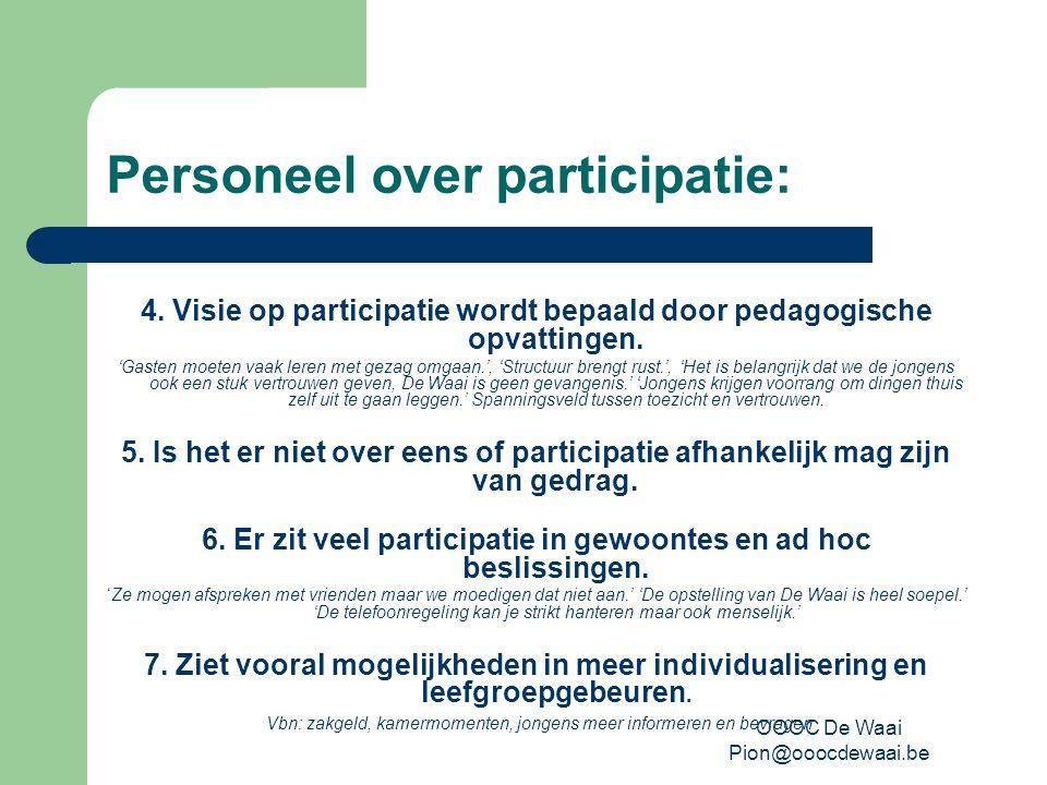 OOOC De Waai Pion@ooocdewaai.be Personeel over participatie: 4.