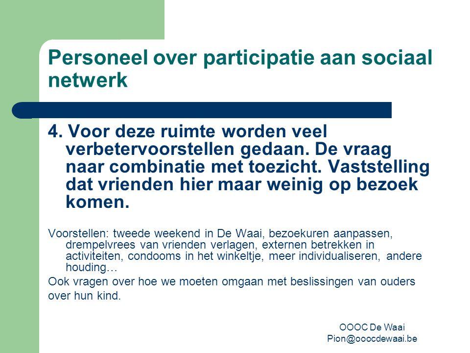 OOOC De Waai Pion@ooocdewaai.be Personeel over participatie aan sociaal netwerk 4.