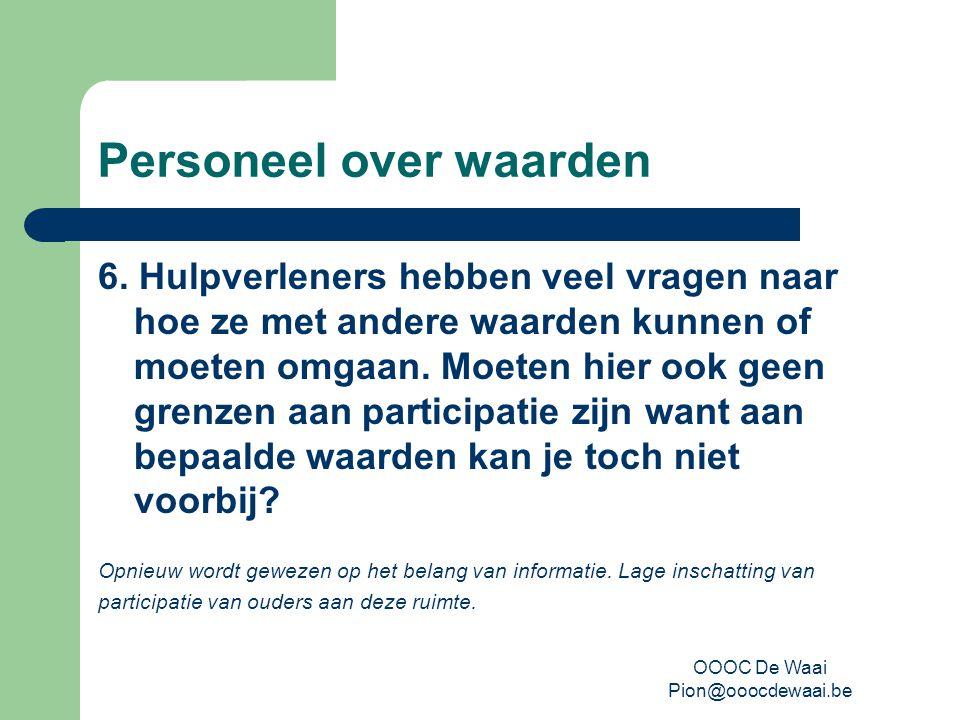 OOOC De Waai Pion@ooocdewaai.be Personeel over waarden 6.