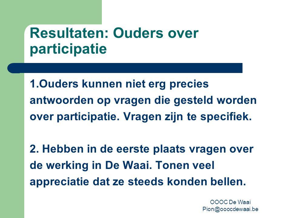 OOOC De Waai Pion@ooocdewaai.be Resultaten: Ouders over participatie 1.Ouders kunnen niet erg precies antwoorden op vragen die gesteld worden over participatie.