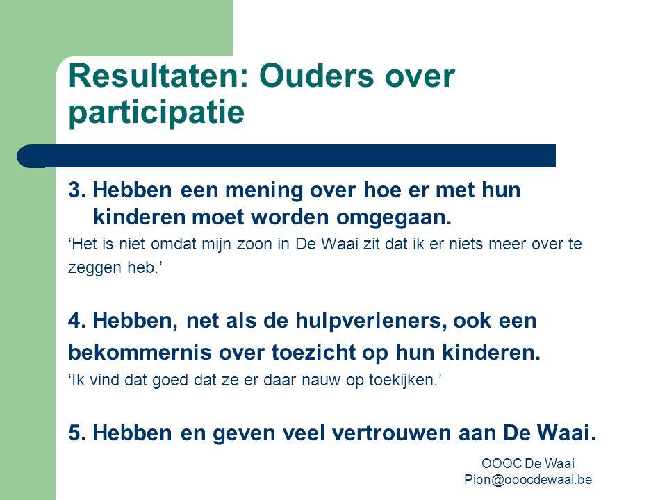 OOOC De Waai Pion@ooocdewaai.be Resultaten: Ouders over participatie 3.