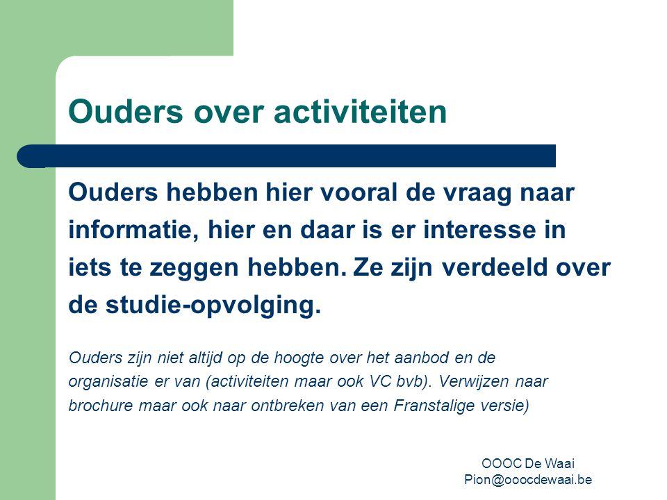 OOOC De Waai Pion@ooocdewaai.be Ouders over activiteiten Ouders hebben hier vooral de vraag naar informatie, hier en daar is er interesse in iets te zeggen hebben.