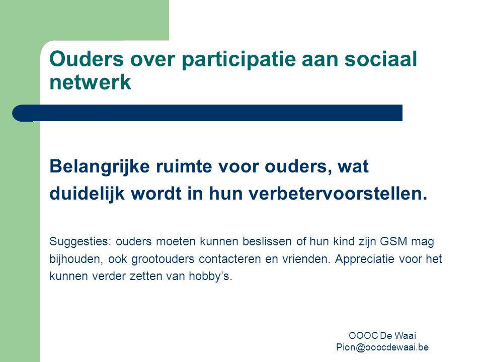 OOOC De Waai Pion@ooocdewaai.be Ouders over participatie aan sociaal netwerk Belangrijke ruimte voor ouders, wat duidelijk wordt in hun verbetervoorstellen.